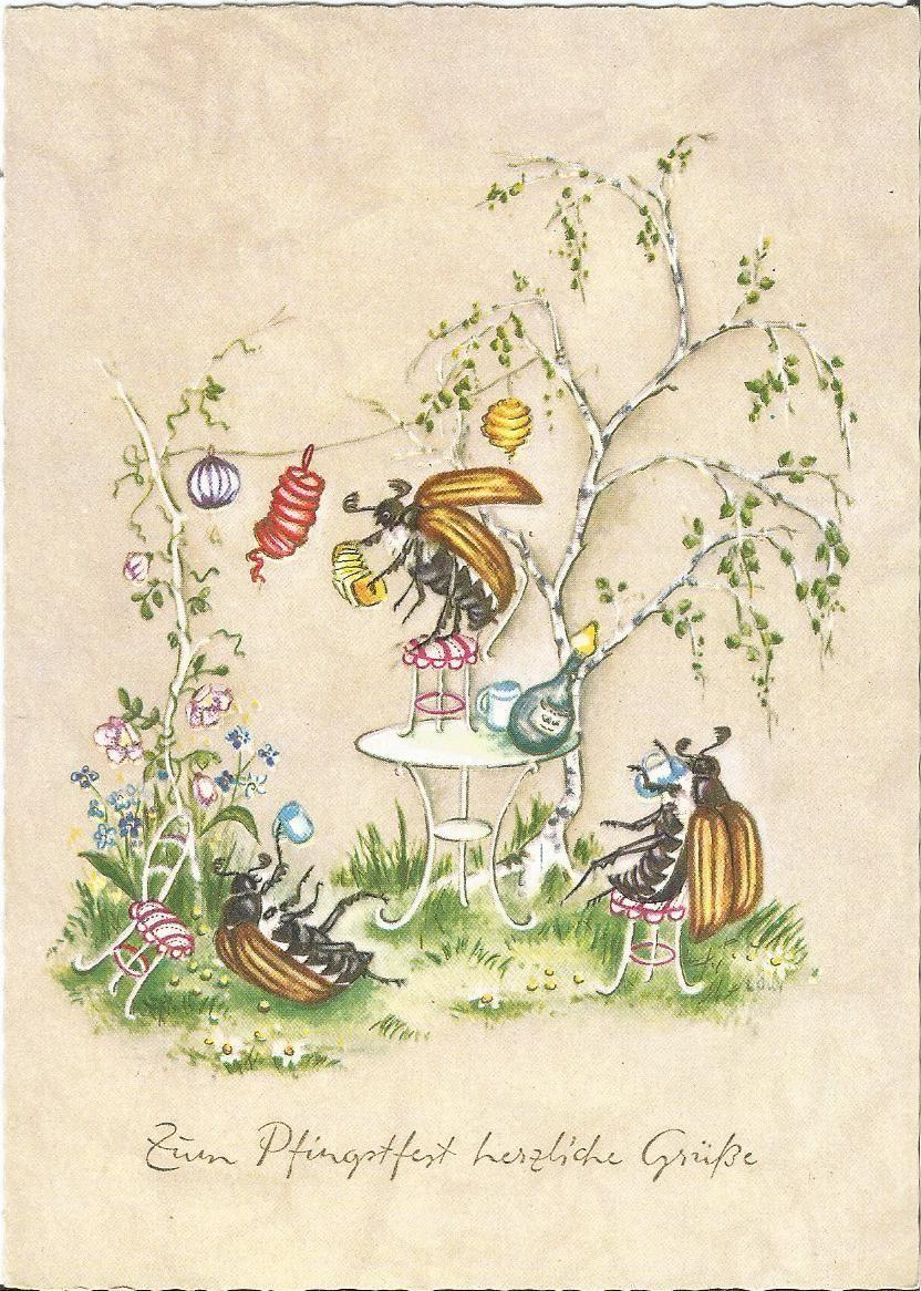 Pfingsten Maikäfer feiern eine Party Insekt Käfer personifiziert