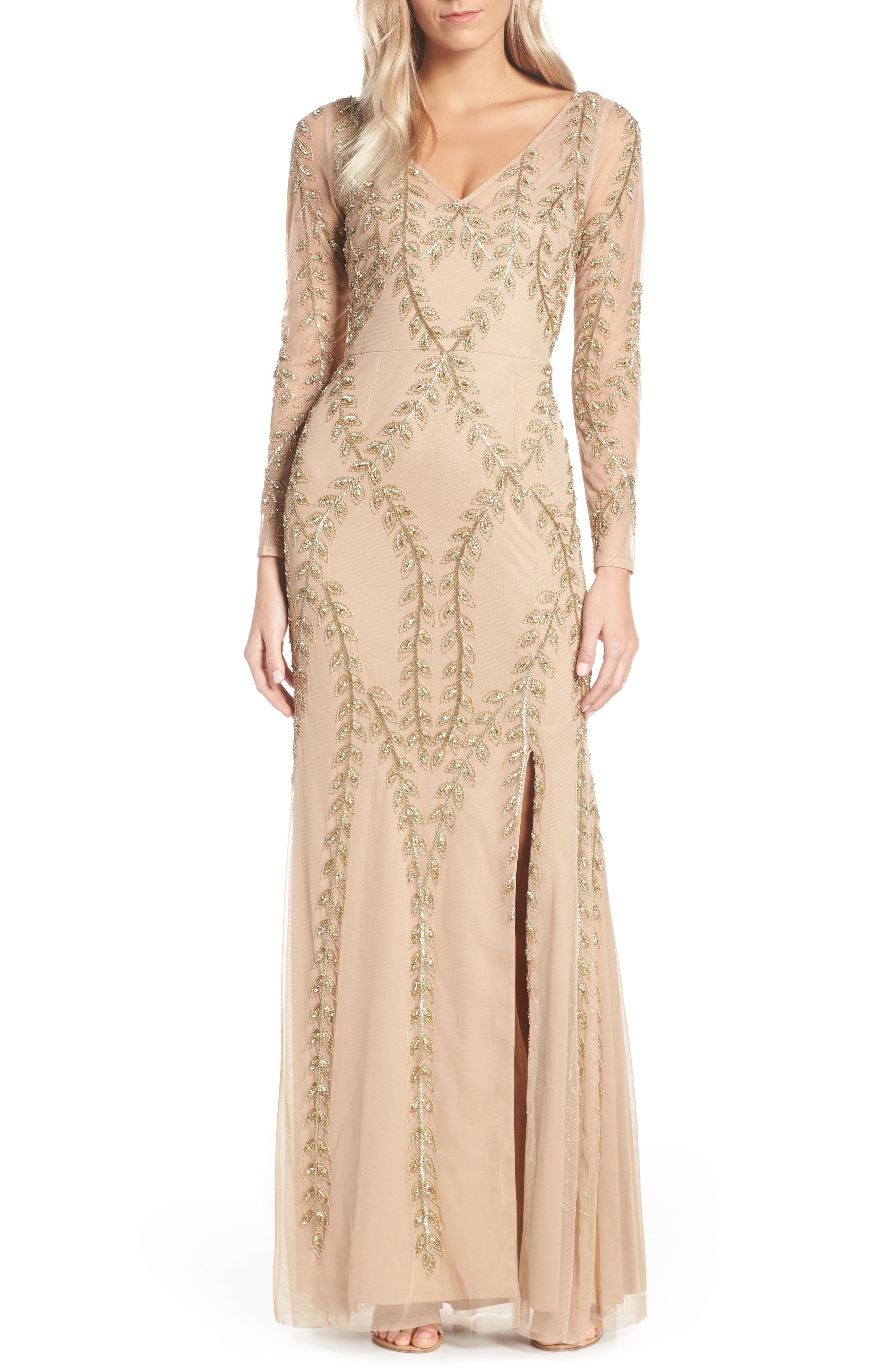 The Prettiest Champagne Beaded Dress For Mother Of The Bride