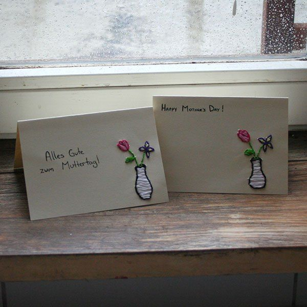 What great and easy embroidered Mother's Day cards!