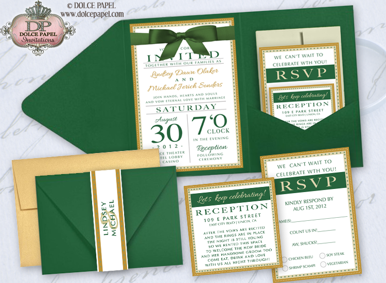 Emerald Green Ivory And Gold Metallic Elegant Pocket