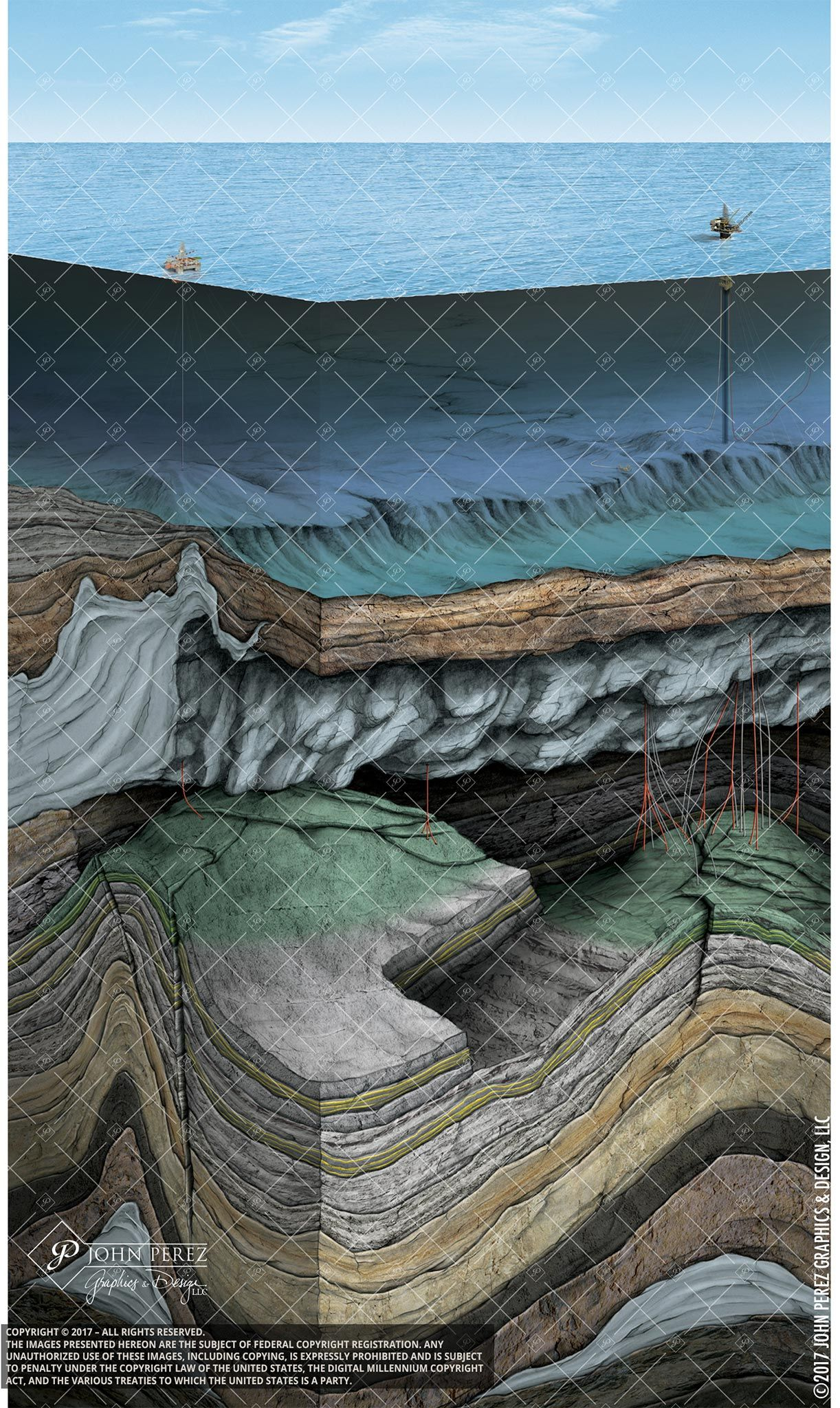 Offshore Drilling Fault Oil Gas Illustration John Perez