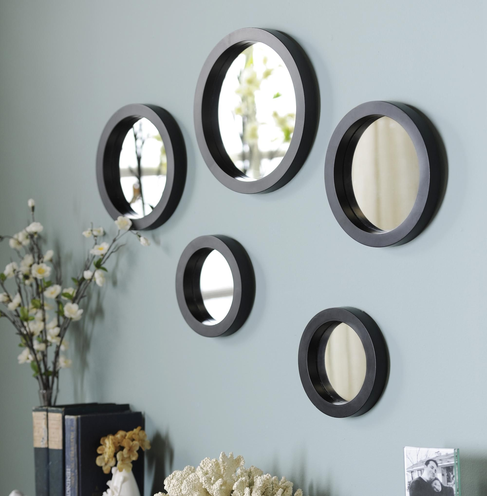 Mirror Sets Wall Decor this five piece set of circle mirrors is only $14.98, compared to