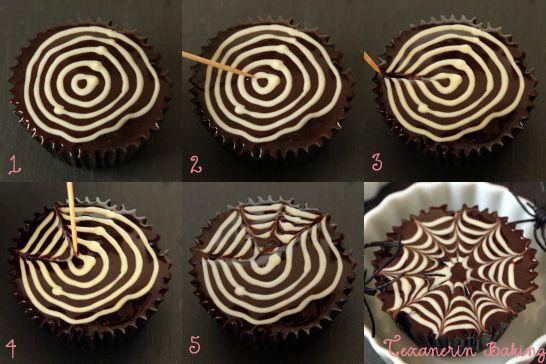 Spiderweb Tutorial for Cupcakes, Cookies, Brownies