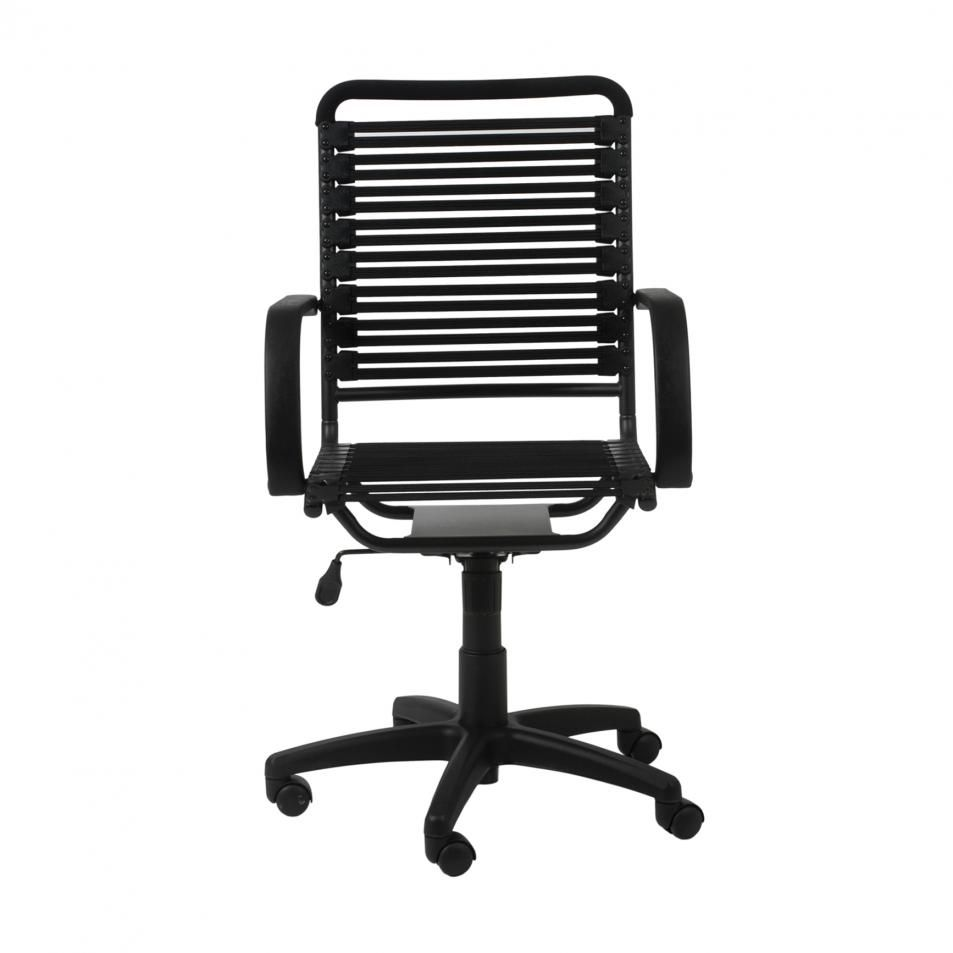 Euro Style Bungie Flat High Back Office Chair In Black And Graphite Black Black Office Chair High Back Office Chair Office Chair