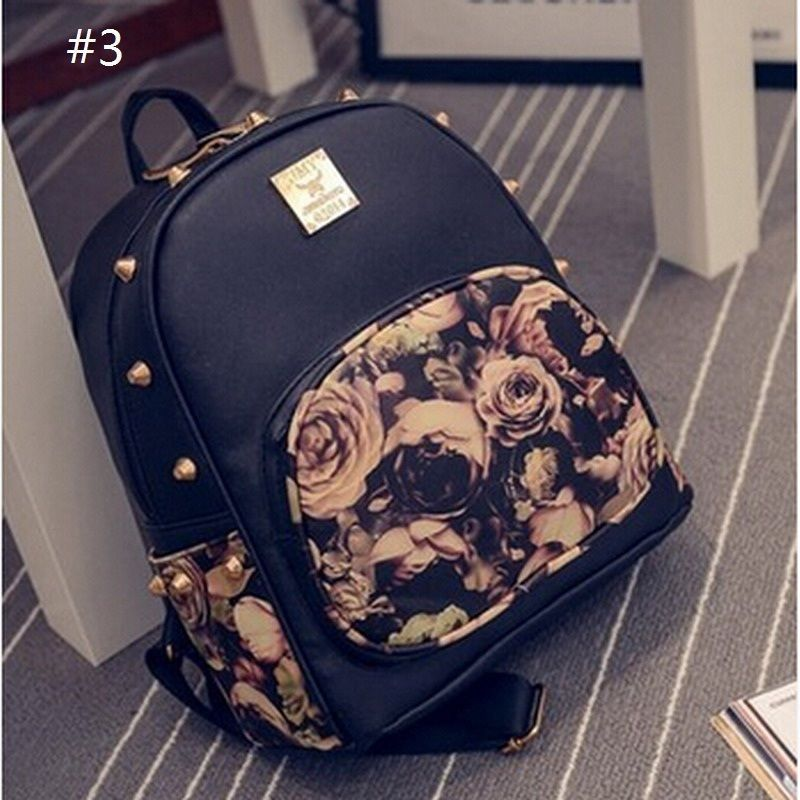 f15dea71c19 Girl Leather School Bag Travel Cute Backpack Satchel Women Shoulder ...