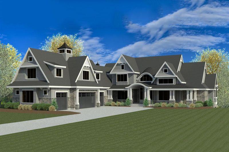 Craftsman Style House Plan - 6 Beds 7 Baths 8496 Sq/Ft Plan #920-42 Exterior - Front Elevation - Houseplans.com