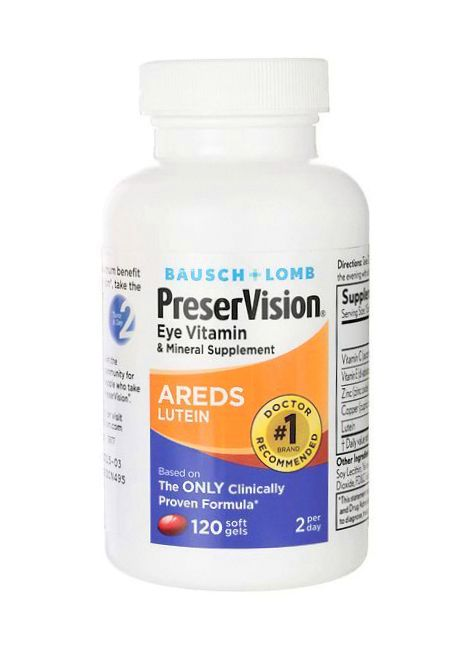 10 mg Lutein and about 2 mg Zeaxanthin, with Zinc — Bausch + Lomb  PreserVision