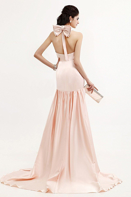 Mermaid halter backless satin evening dresses at amazon womenus