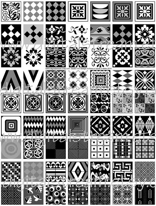 Exceptional Classic Tile Design Inchies In Black N White Digital Collage Sheet 1x1 Inch  Squares 63 Different Images