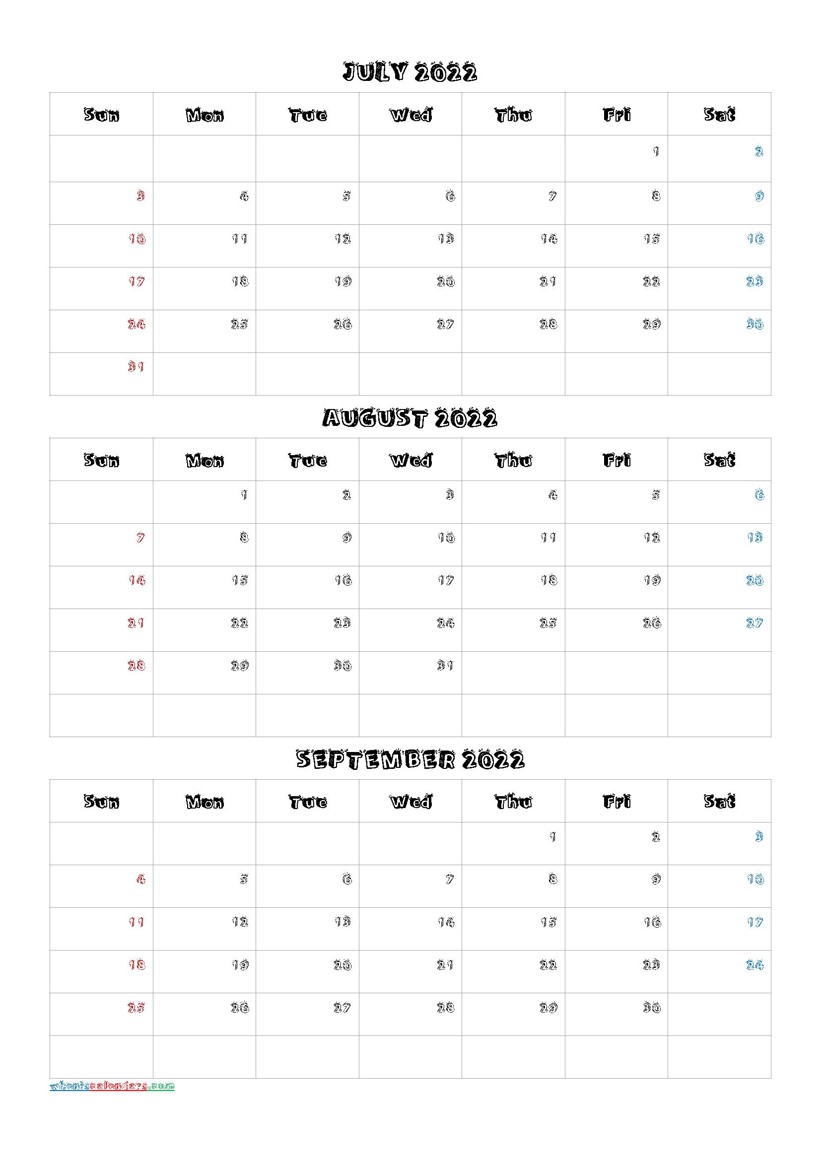 Printable Calendar July August 2022.July August September 2022 Calendar Printable Free Q1 Q2 Q3 Q4 Calendar Printables Printable Calendar July Monthly Calendar Printable