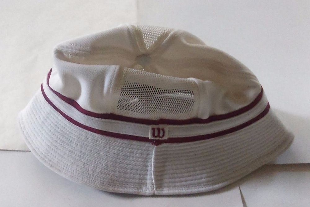 bf836766c31 Wilson Tennis Vintage 70 s Men s Bucket Hat White w Red Size XL Mesh Vented…