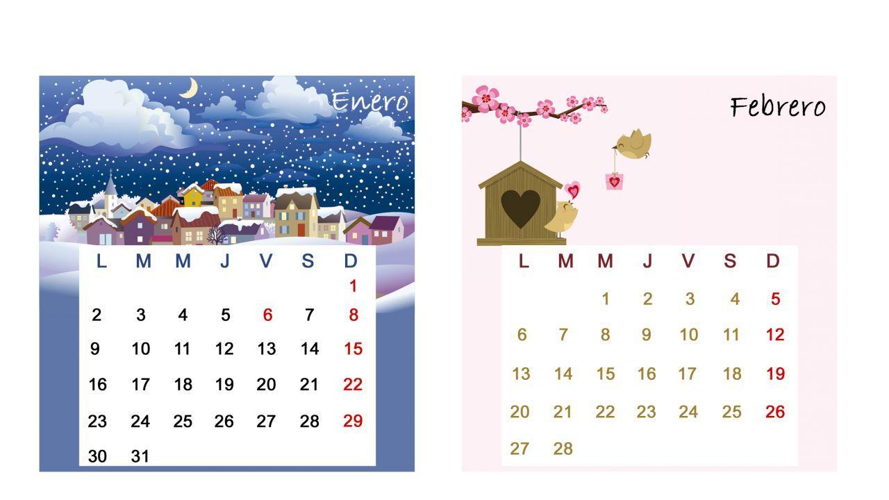 Calendario de mesa para caja de CDs para imrpimir #calendar #calendario #imprimir #gratis