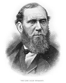 Scottish-born Allan Pinkerton was a Glasgow cooper by trade in 1842, and 23 years old, when he secretly married Joan Carfrae (a singer). He later emigrated to America. As a dedicated abolitionist, Pinkerton's Dundee Illinois home became a regular stop on the Underground Railroad. In 1844 he was appointed a Chicago detective, following that he partnered with attorney Edward Rucker to form the Northwest Police Agency, later known as the Pinkerton National Detective Agency.