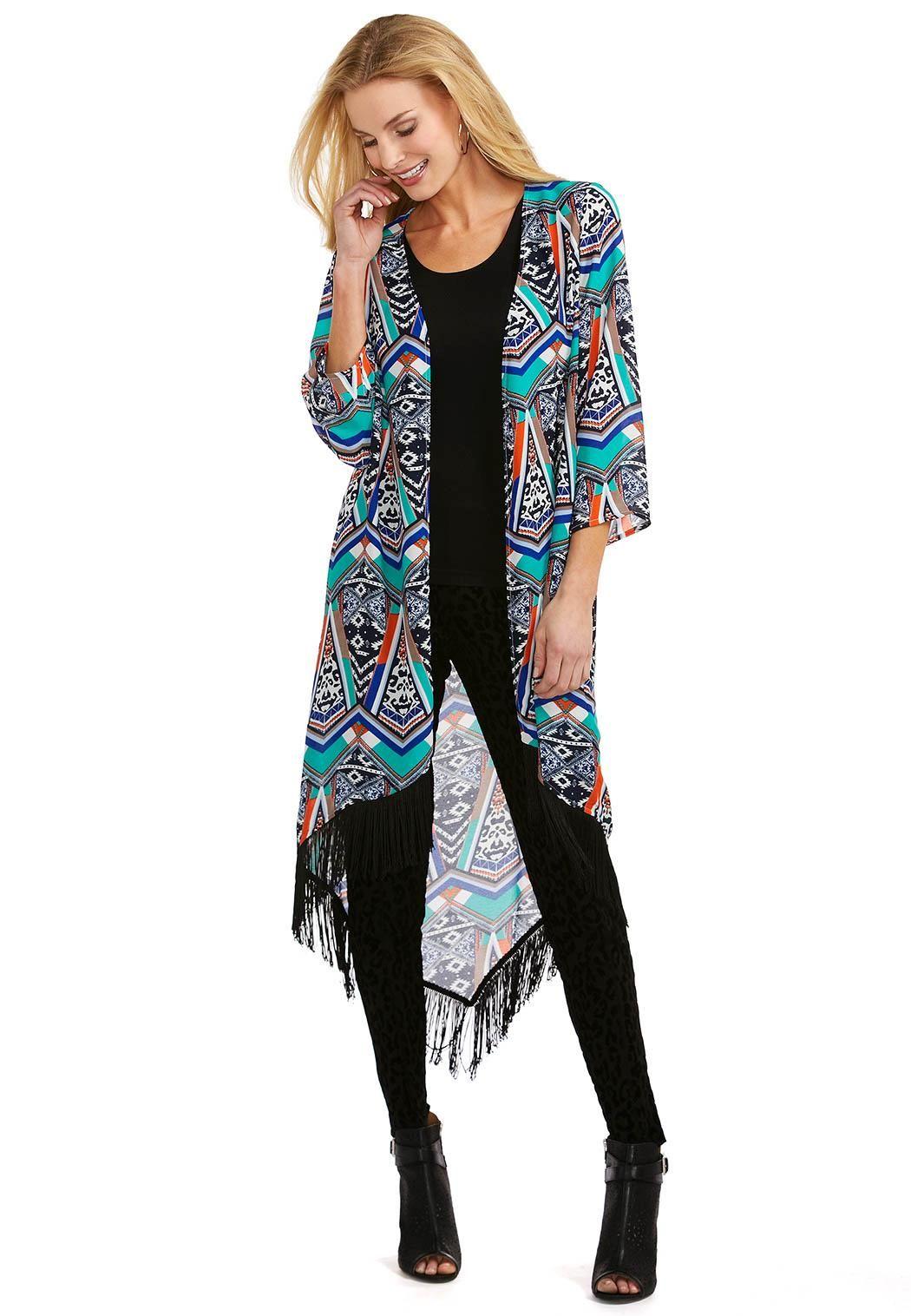 56453d641 Tribal Fringe Kimono Cardi Tops Cato Fashions | Boho Love | Fashion ...