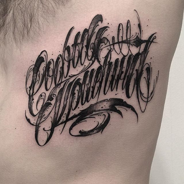 Elaborate Lettering Tattoos By Stanislav Gromov
