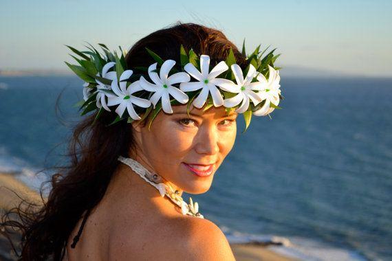 Foam tiare Tahiti hei upo'o by ISLANDMANA on Etsy, 105.00