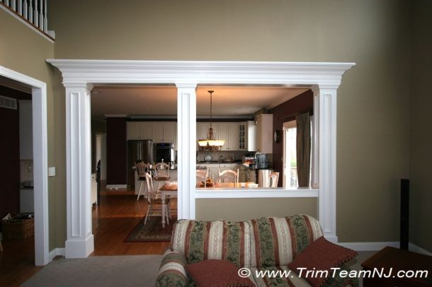 Idea How To Trim Half Wall Between Kitchen And Family Room