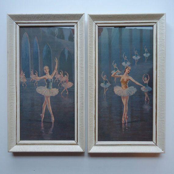 2 Vintage Framed Ballerina Lithograph Prints by VeejaysVintage ...