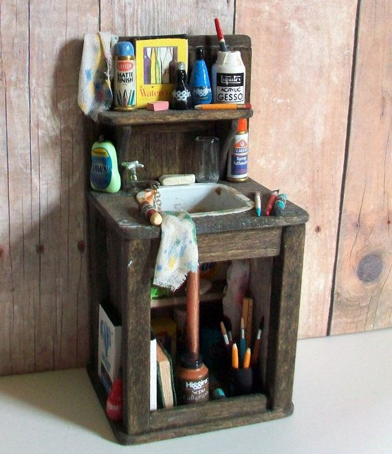 miniature art studio sink 1 inch dollhouse scale miniaturen pinterest puppen miniatur. Black Bedroom Furniture Sets. Home Design Ideas