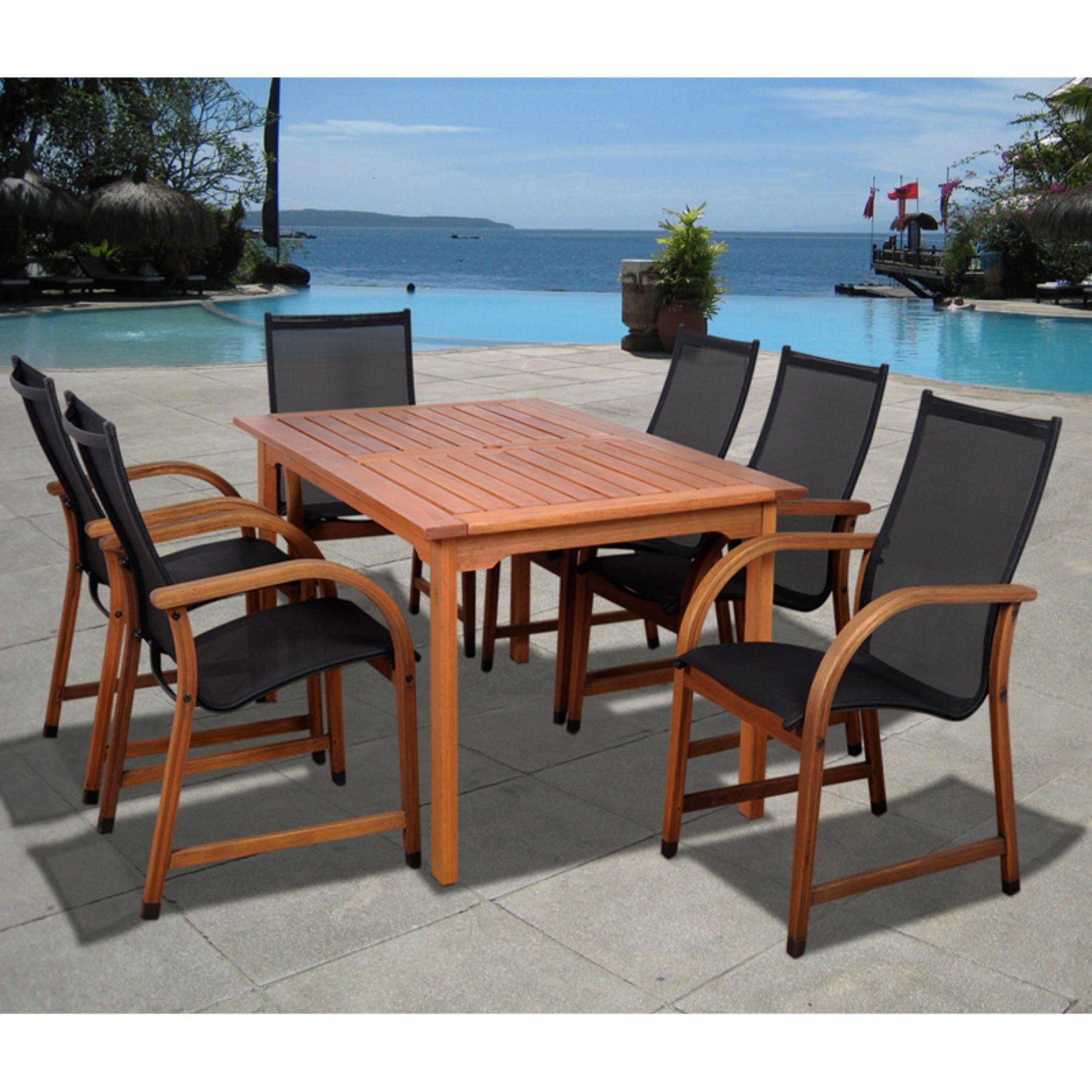 Outdoor amazonia indiana 7 piece eucalyptus rectangular patio dining set sc 361 6manha