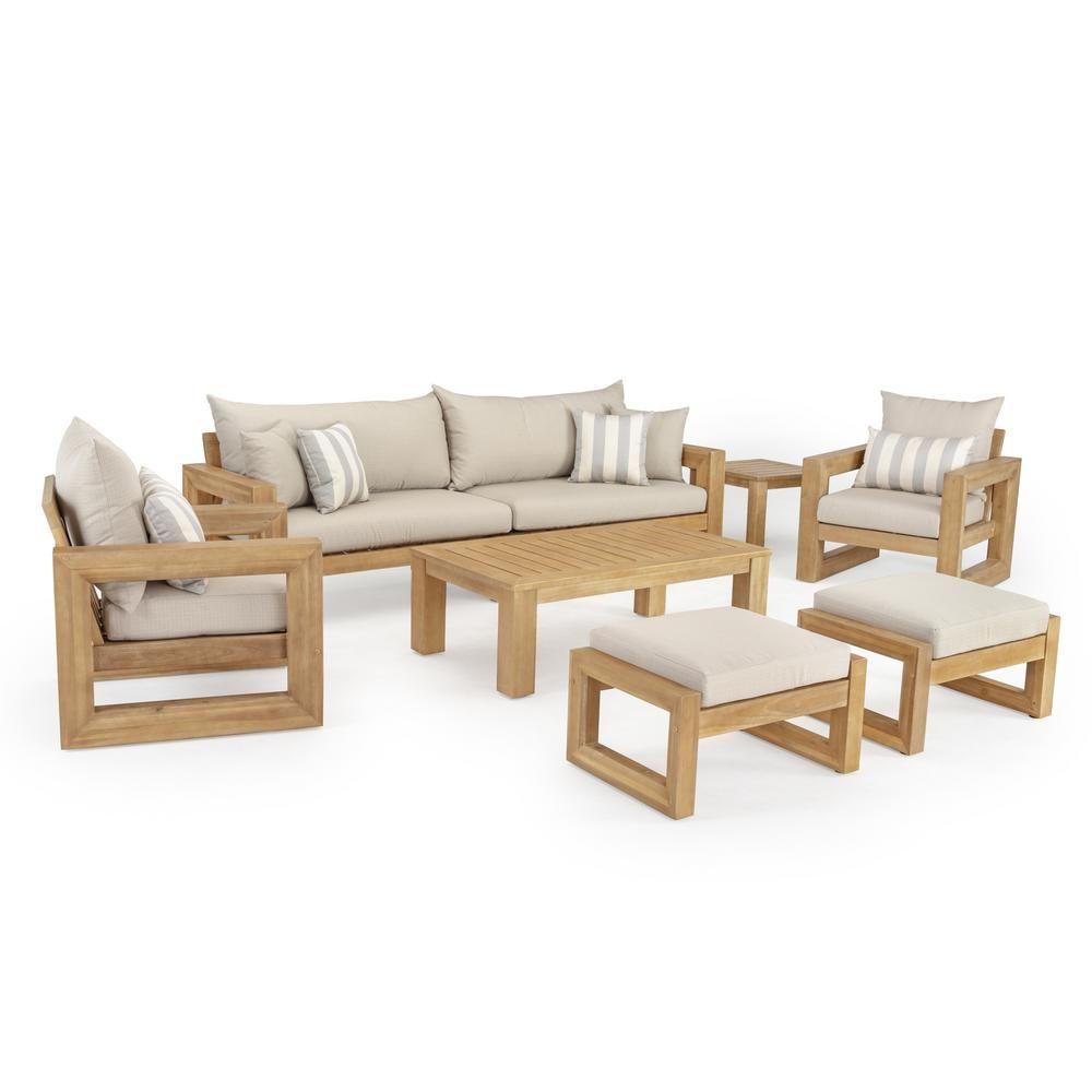 Rst Brands Benson 8 Piece Wood Patio Conversation Set With Slate Grey Cushions Op Awss8 Ben Slt K The Home Depot In 2020 Outdoor Sofa Wooden Sofa Designs Wooden Sofa