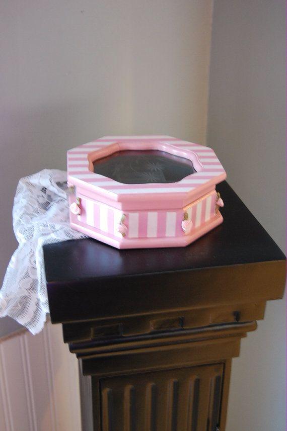 Pink Paris Victorian Style Shabby Chic Octagon Vintage Wood JewelryTrinket Box
