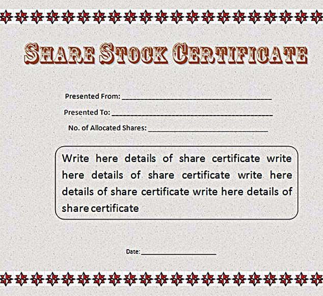 Share Stock Certificate Template MS Word Free , Stock Certificate - certificate templates word