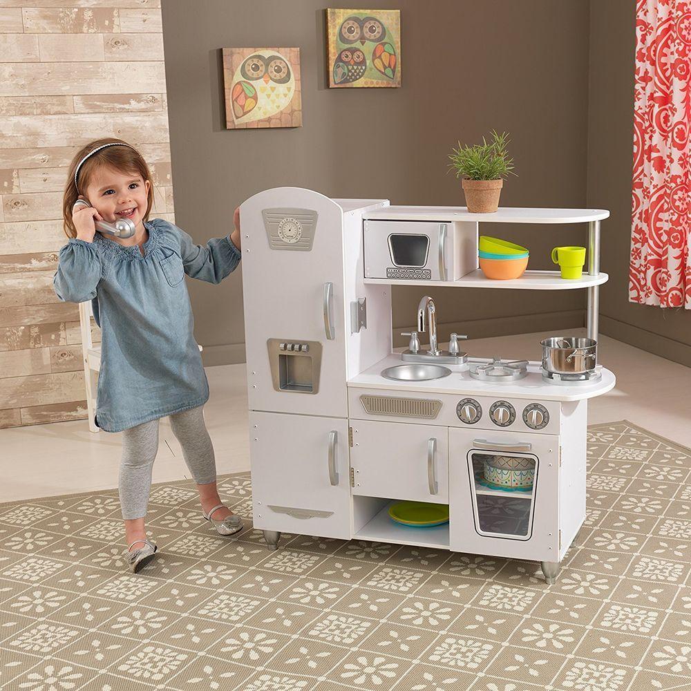 Wooden Kitchen Playset Life Like Vintage White Toy Kids Pretend