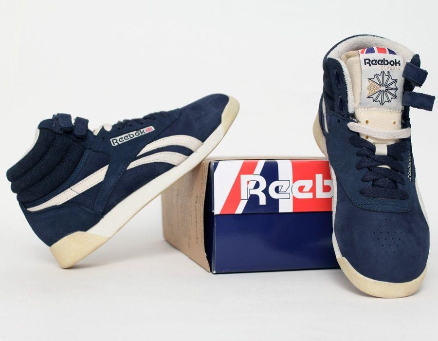 Reebok Freestyle Hi Sneakers BlueMen's Vintage Fashion kTOPiXZu