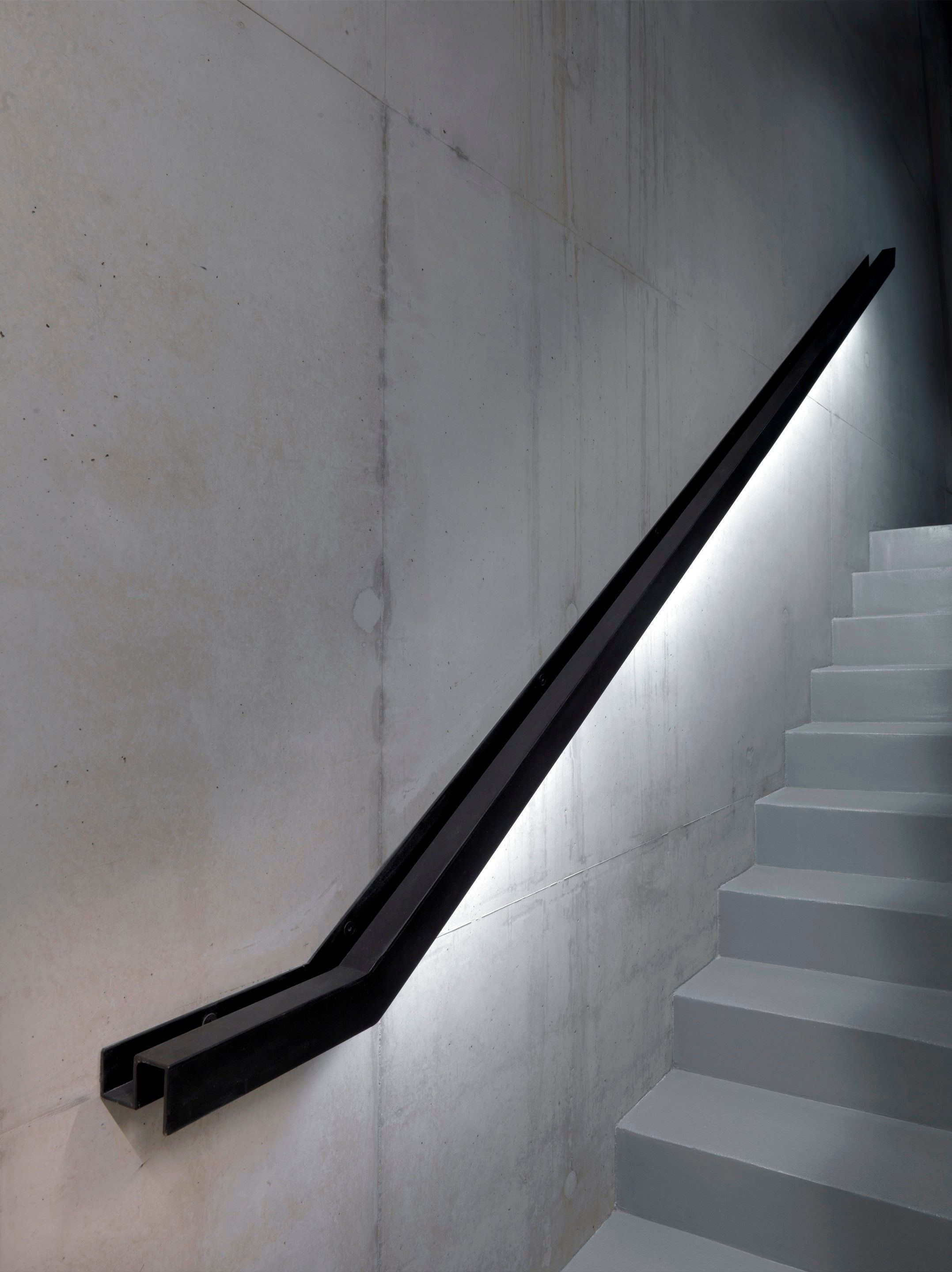 Stairs Black Meets Concrete Stairway Lighting Staircase