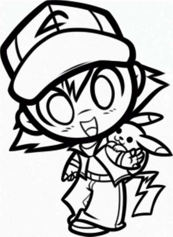 Pikachu, : Ash And Pikachu In Chibi Style Coloring Page