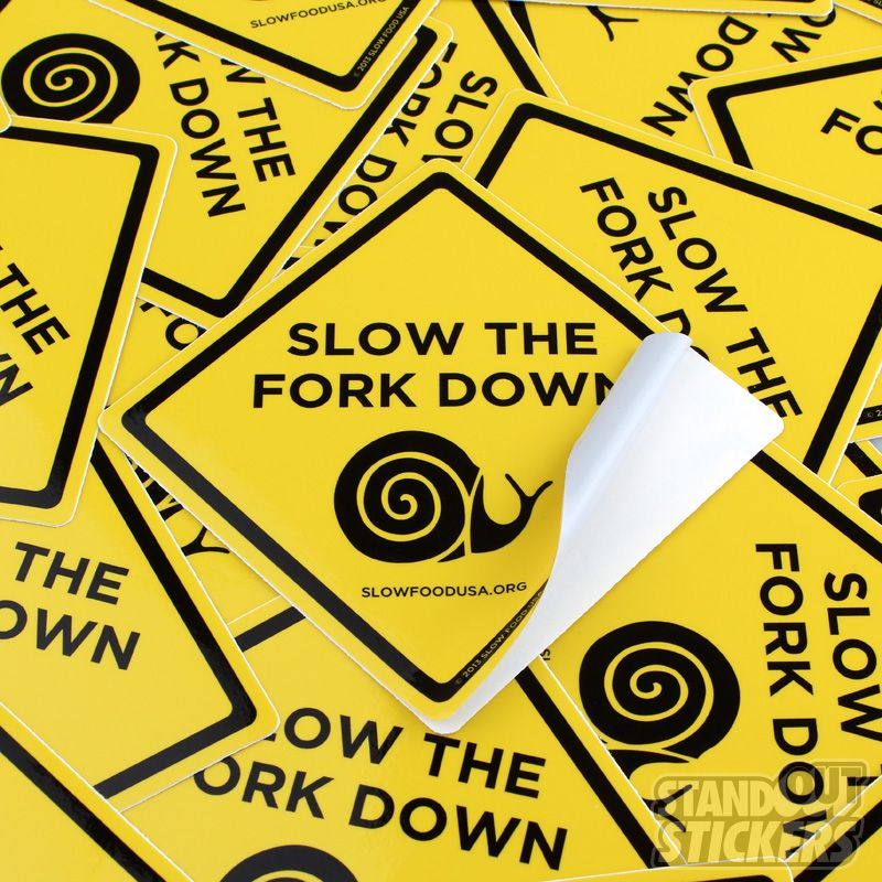 Slow food usa custom square stickers