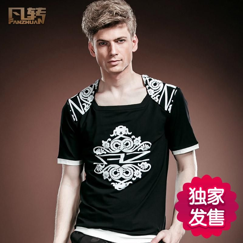 8ca6a4c5831 FanZhuan free shipping New fashion casual men s male summer 2017 short  sleeved printed T shirt 14534