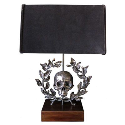 Flair Exclusive Skull With Laurel Wreath Large Sculpture Table