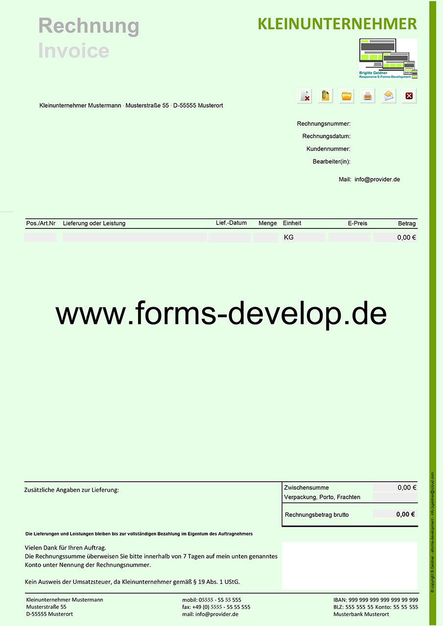 pdf rechnungs formular f r kleinunternehmer web shop 4 interactive. Black Bedroom Furniture Sets. Home Design Ideas