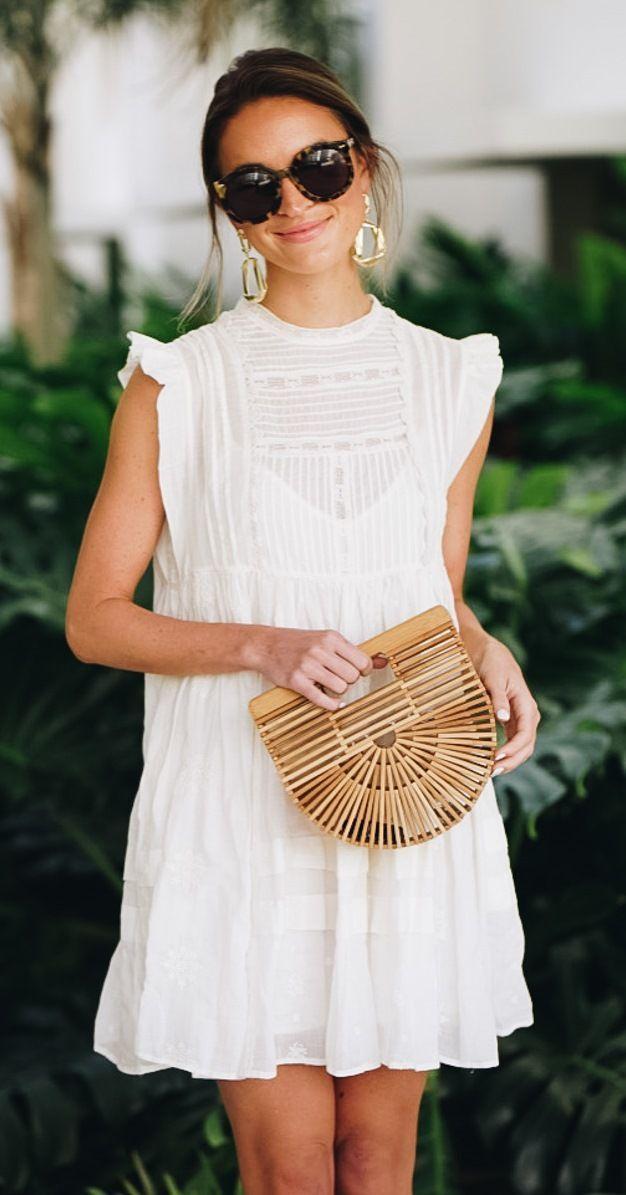 Cute white dress for spring & summer