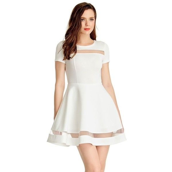 626e3eecac White Mesh-Panel Short-Sleeve Skater Dress Lookbook Store (1