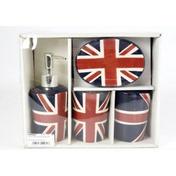 union jack design bath room accessory set set of by retro choice - Bathroom Accessories London