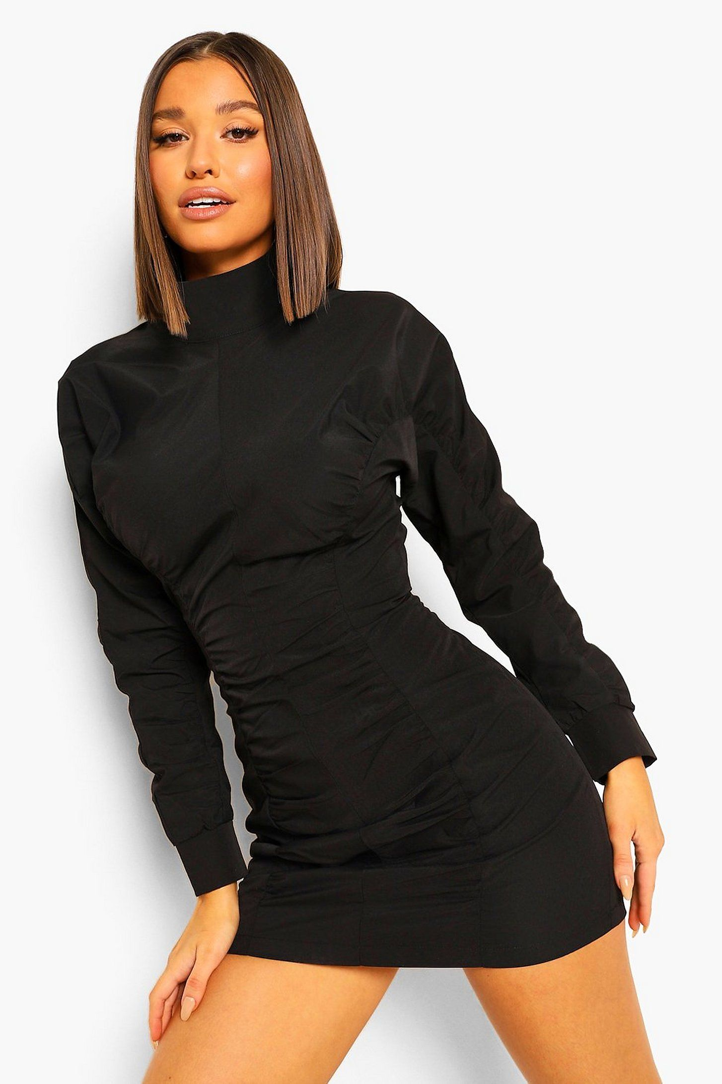Women S High Neck Ruched Detail Long Sleeve Mini Dress Boohoo Uk Black Long Sleeve Mini Dress Super Short Mini Dress Long Sleeve High Neck Dress [ 2181 x 1454 Pixel ]
