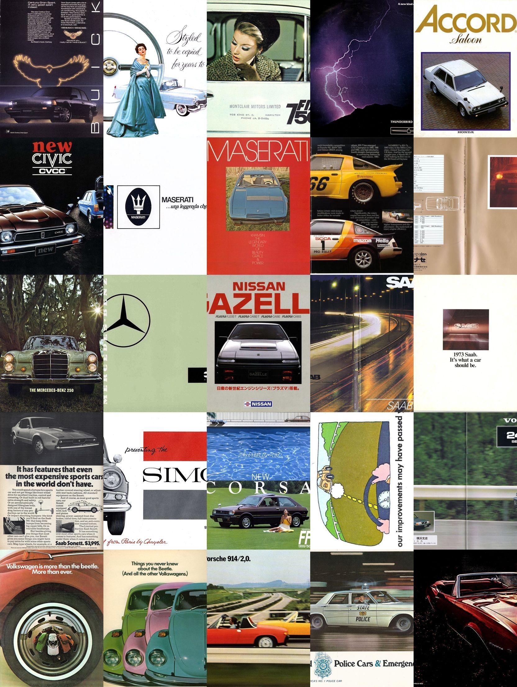 51 vintage car pdf brochures Buick, Cadillac, Maserati, Pontiac, Mercedes, Saab,