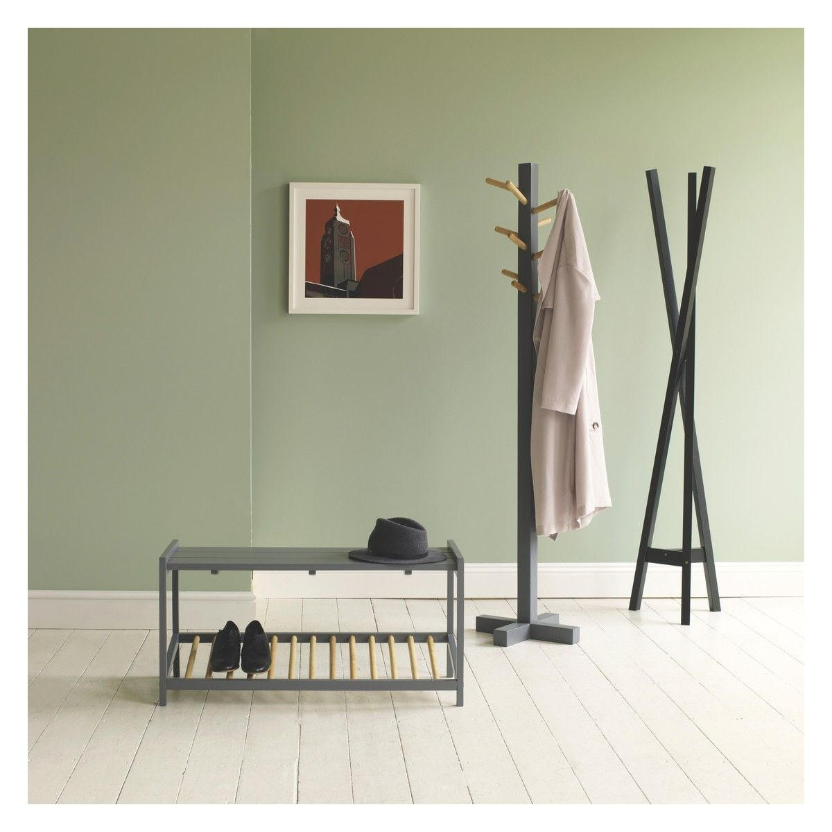 Green coat stand