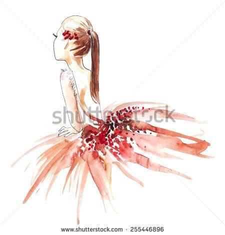 stock-vector-watercolor-ballerina-in-red-vector-255446896.jpg (450×470)