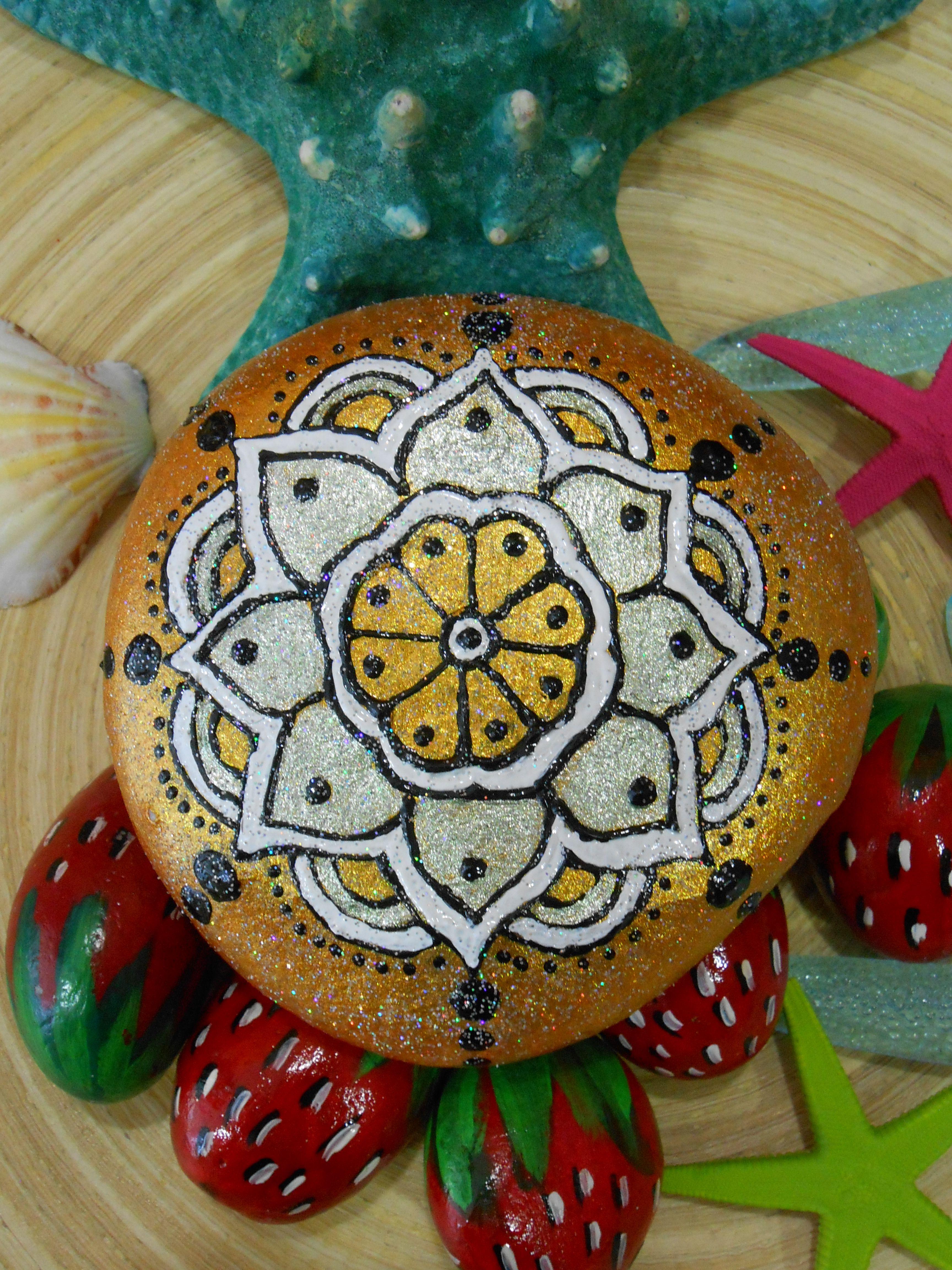 Painted stone, Mandala...inspired