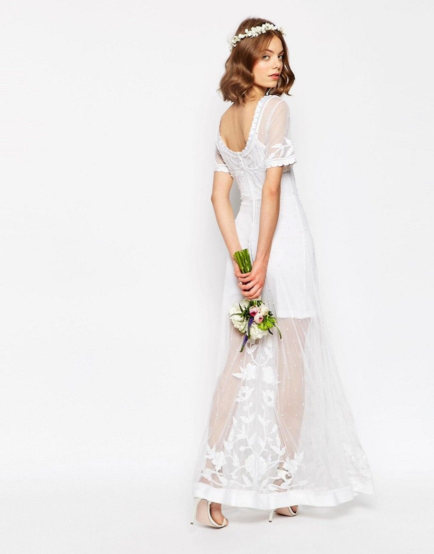 Image of asos bridal delicate lace and pearl maxi dress girls