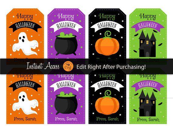 Halloween Gift Tags - Kids Halloween Favor Tags - Halloween Party