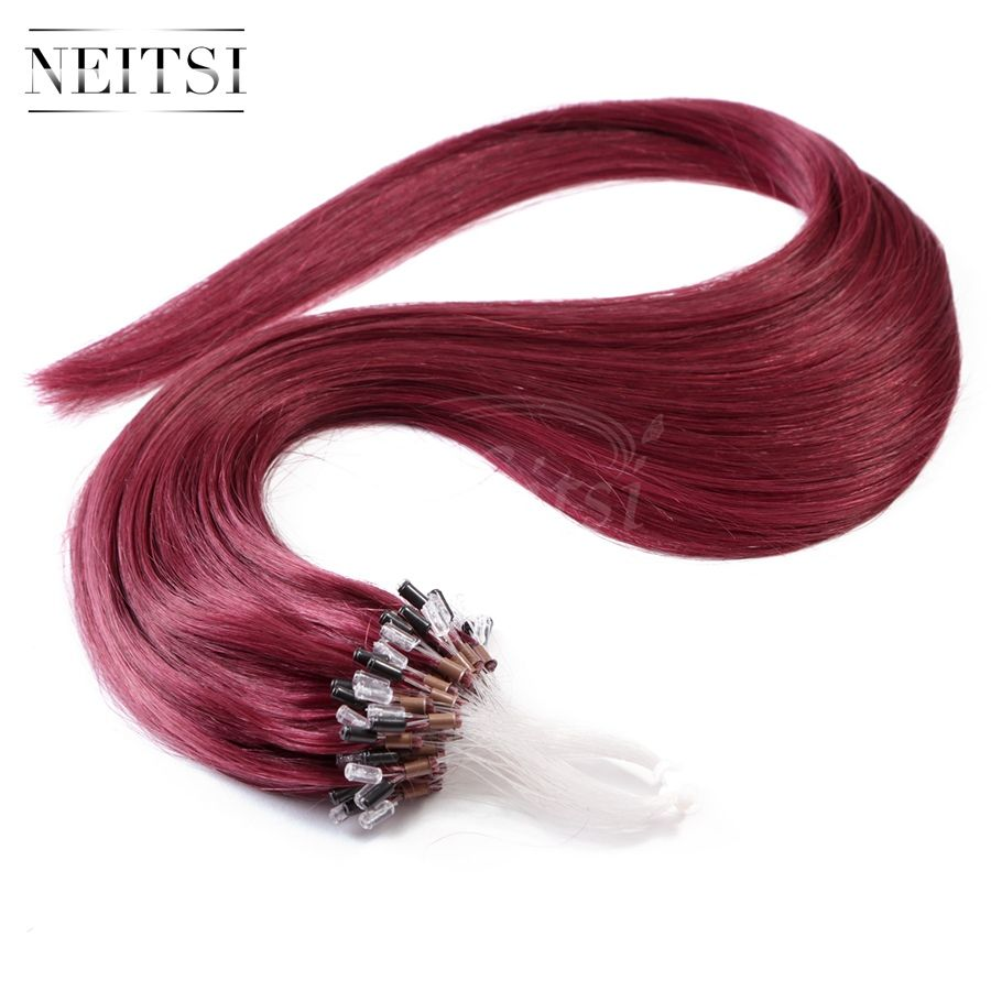 "Neitsi Micro Loop Rings Bead Remy Human Hair Extensions 100% Indian Virgin Natural Hair Straight 16"" 20"" 24"" #530 1g/s 50g 100g"