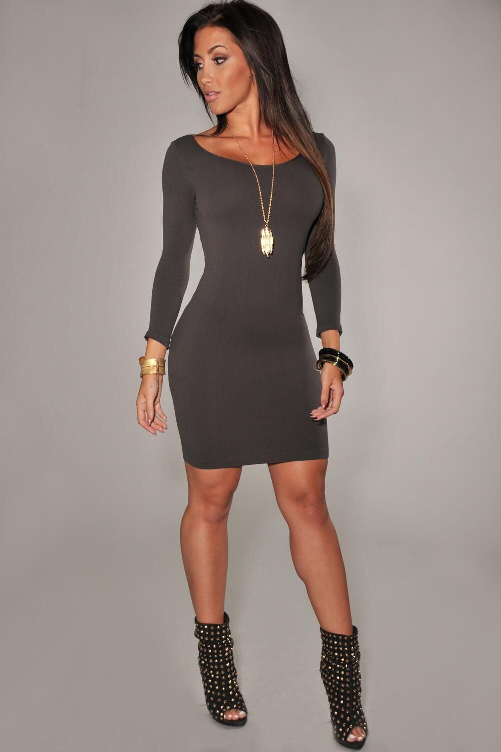 Love this look! Bodycon dress with booties  358b59e4d884