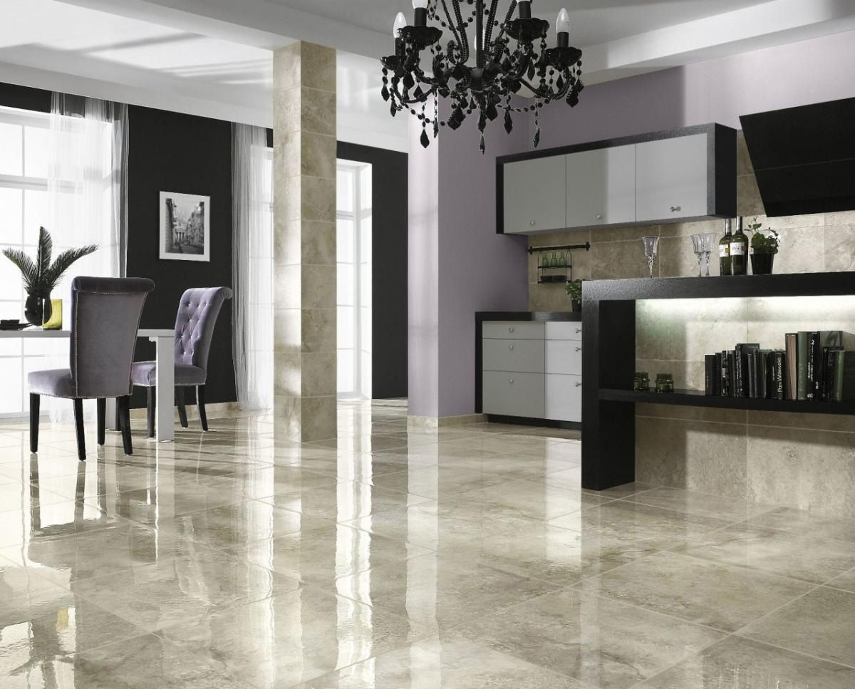 Glossy Marble Ceramic Tile Floor Ideas For Modern Living Room