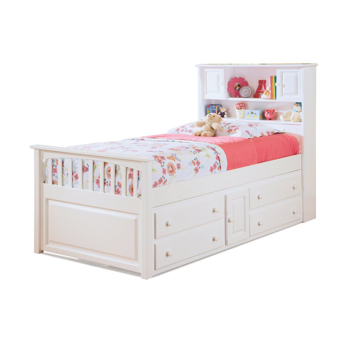 Best Atlantic Furniture Ap85 Captains Bookcase Bed With Four 640 x 480
