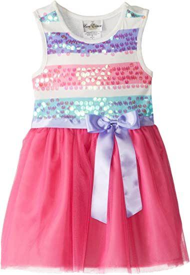 Rare Editions Little Girls' Striped Spangle Mesh Dress, Fuchsia/White/Aqua, 4 by Rare Editions Children's Apparel #littlegirl#meshdress#editionschildren